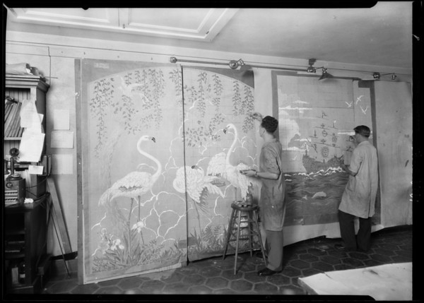 Watercolor sketches in Art Department, Pacific Finance Building, Los Angeles, CA, 1929