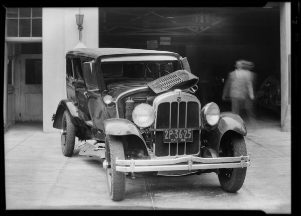 Wrecked Chandler sedan, Southern California, 1929