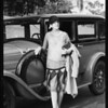 Mrs. Hood standing by car, Southern California, 1929