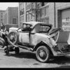 Wrecked De Soto roadster at 214 West 17th Street, Los Angeles, CA, 1929