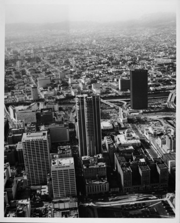 Aerial view facing west over Sixth Street in Downtown Los Angeles
