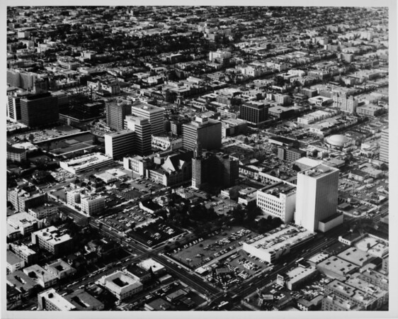 Aerial view facing north over Koreatown (Mid-Wilshire District) between Vermont Avenue and Catalina Avenue