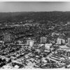 Aerial view of Wilshire Boulevard facing north