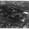 Aerial view over Exposition Park, Coliseum, Sports Arena
