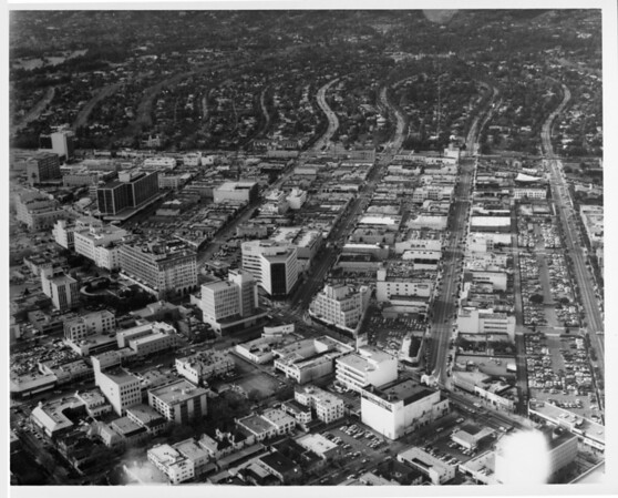 Aerial view of Beverly Hills looking north
