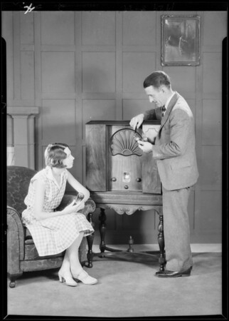 Radio and Miss Margaret Hoffman in studio, Southern California, 1929