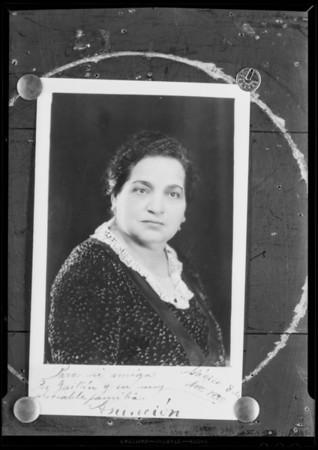 Portrait of a woman, Gutierrez, National Auto School, Southern California, 1931
