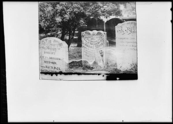 Tombstone taken by Mrs. Whittington, Southern California, 1925