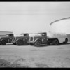 Drivers and new white trucks, Southern California, 1931