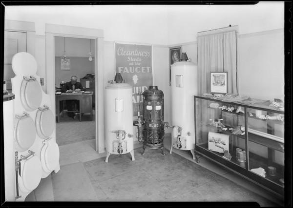 Interior of plumbing shop at 1436 Sierra Bonita Avenue, Los Angeles, 1930