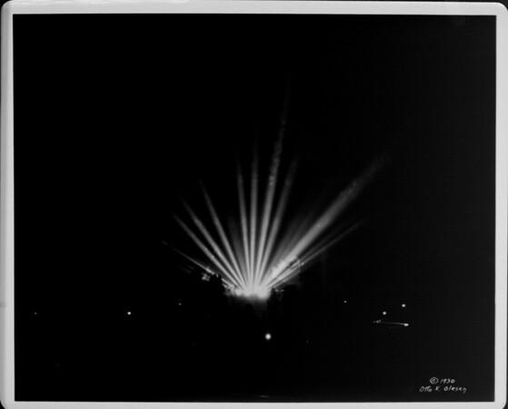 Spotlights at Hollywood Bowl at night