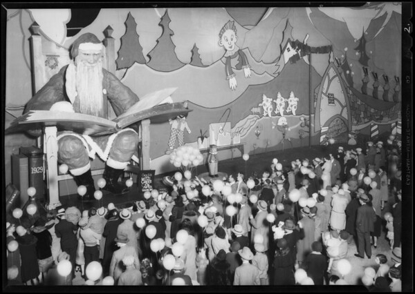 Opening of Santa Claus display at station, Shell Oil Co., Southern California, 1930
