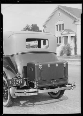 Trunk on car, Lambert Co., 941 Venice Boulevard, Venice, Los Angeles, CA, 1931