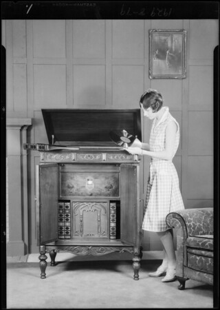 Radio and Miss Margaret Hoffman in studio, Southern California, 1929