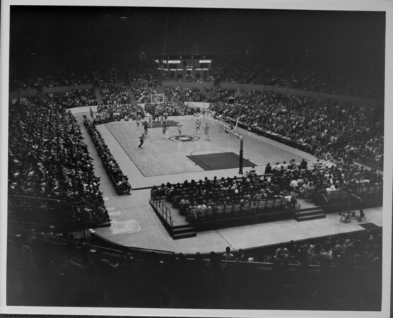 Interior view of the Los Angeles Sports Arena with a Los Angeles Lakers-Boston Celtics basketball game in progress