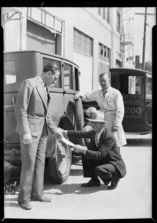 Soldier's bonus loan purchasing tires, Master Tire Co., Southern California, 1931