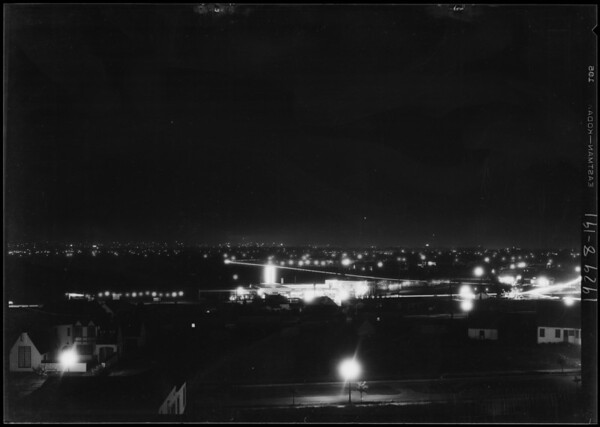 "Night shot from View Heights for ""Graf Zeppelin"" composite, Southern California, 1929"