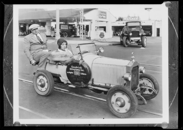 Mack Sennett girl in miniature car, Pacific Goodrich, Southern California, 1931