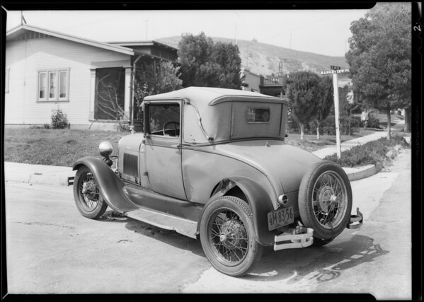 Wrecked Ford coupe, Los Angeles, CA, 1930