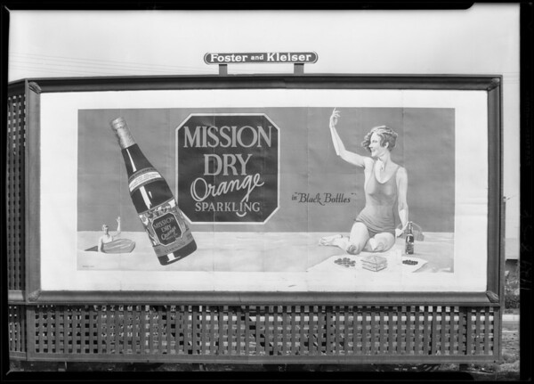 Signboard bathing girl & bottle at West Washington Boulevard & Hauser Boulevard, Los Angeles, CA, 1929