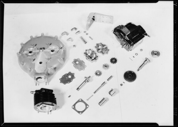 Parts of motor, Axelson Machine Works, Southern California, 1929