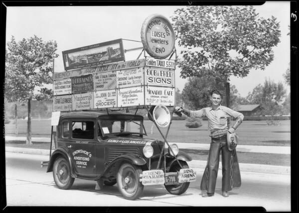 Advertising car from Reno, Southern California, 1930