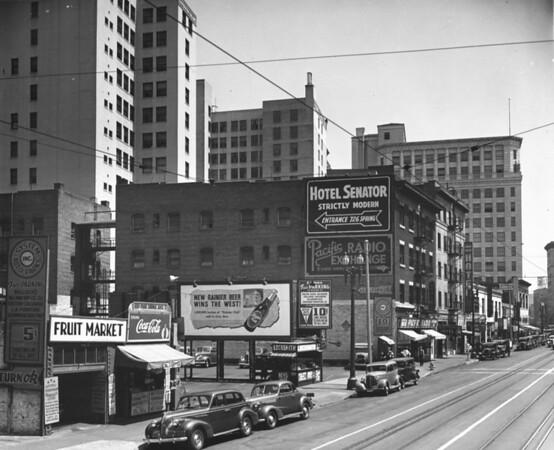 Main Street looking north between Seventh Street and Eighth Street, Hotel Senator, Fruit Market, Grand Pacific Hotel