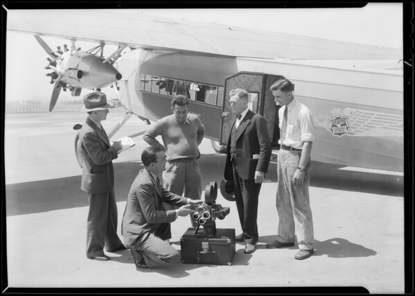 Richfield plane to photograph eclipse, Southern California, 1930