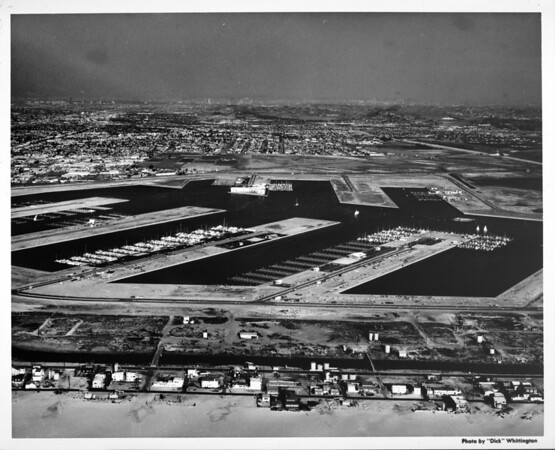 Aerial view of Marina Del Rey looking east