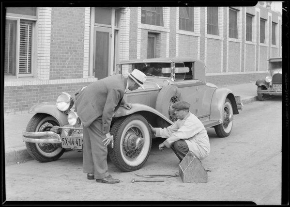 Dayton tires on Cord automobile, Southern California, 1930