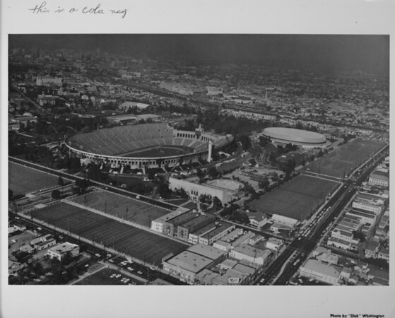 Aerial photo facing northeast over Exposition Park in central Los Angeles