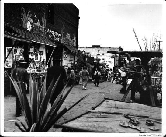 Olvera Street, La Nopalera de Roque, Olvera Street Theatre, Olvera Candle Shop, shoppers