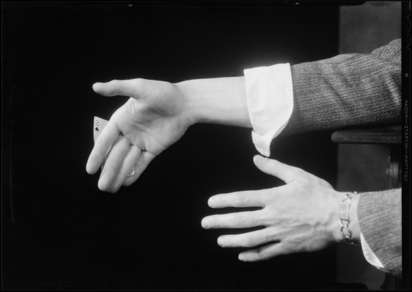 Card trick hands, Southern California, 1931