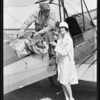 Olive Borden & Nassan, blankets at airport, Southern California, 1929