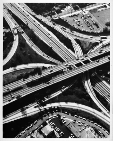 Aerial view over the junction of the Harbor-Pasadena Freeway (I-110) and the Hollywood Freeway (I-101) in Downtown Los Angeles