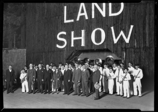 Governor Young & band with Mr. Hart, California land show, Southern California, 1930