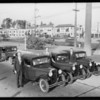 RMJC boys and transcontinental cars, Southern California, 1930