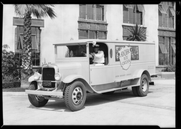 Adohr truck at creamery, Southern California, 1929