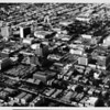Aerial view facing north over Koreatown and Wilshire Boulevard, the Sheraton West, church