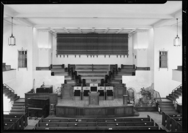 Organ in 7th Day Adventist Church, East California Avenue and North Isabel Street, Glendale, CA, 1930