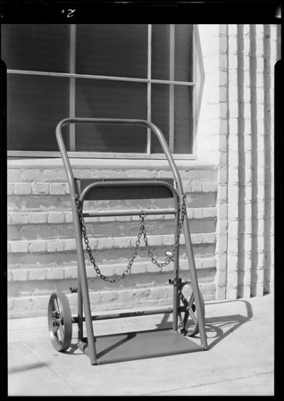 Air tower and hand truck, Service Equipment Co., Southern California, 1931