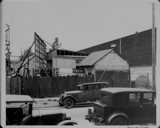 View of an old movie studio in Hollywood's Poverty Row, Gotham Productions, 1948