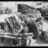 Wrecked Chrysler at Larchmont garage, Southern California, 1931