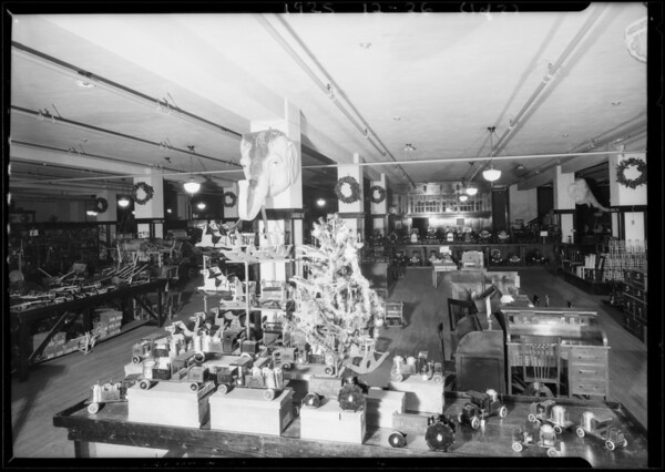 Christmas interiors of store, Toyland, Broadway Department Store, Los Angeles, CA, 1925