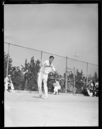 Tennis action at Griffith Park, Los Angeles, CA, 1931