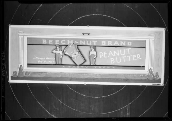 Drawing for Beech-Nut brand peanut butter, Southern California, 1929