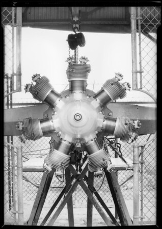 New motor in testing block, Southern California, 1929