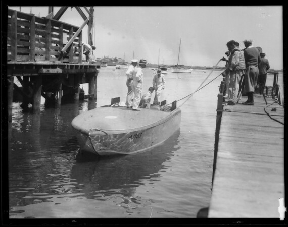 Returned negatives of launching Miss Los Angeles II, Southern California, 1929