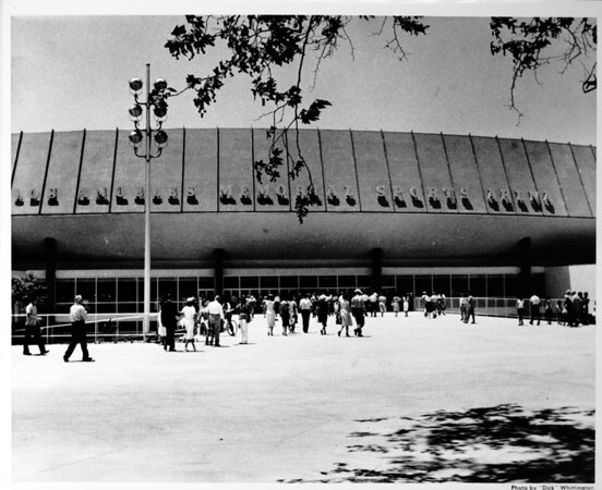 Los Angeles Memorial Sports Arena, newly constructed, exterior view with crowd at main entrance