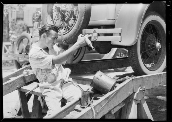 Old and new methods of greasing cars, Southern California, 1931